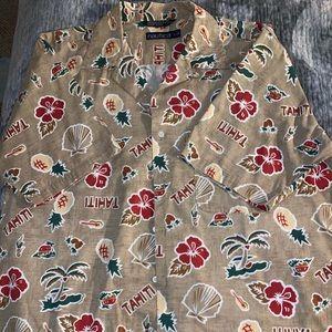 Nautica Mens Short Sleeve Hawaiian Shirt